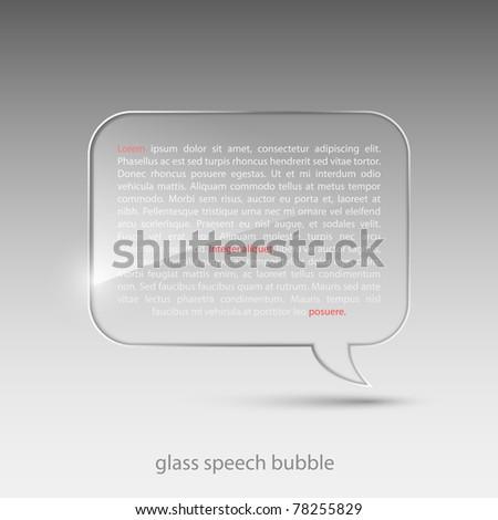 Glass speech bubble.Vector illustration.
