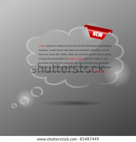 Glass speech bubbles. Vector illustration with red corner.