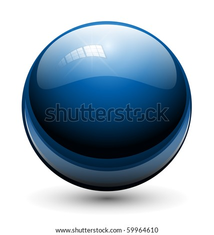 glass sphere  ball blue  vector
