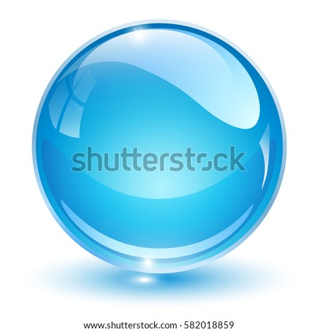 glass sphere  blue 3d vector