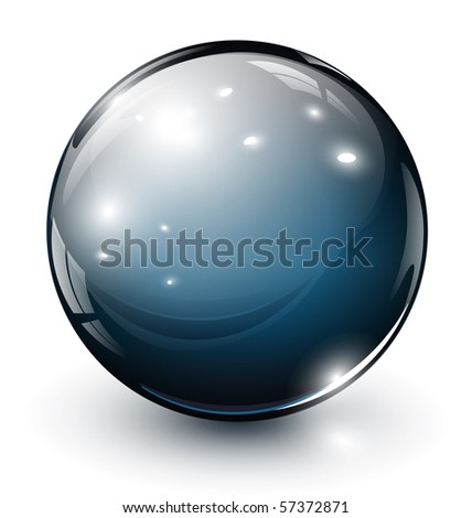 glass sphere, 3D vector illustration.