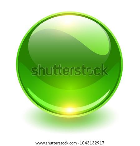 Glass sphere, green vector ball.