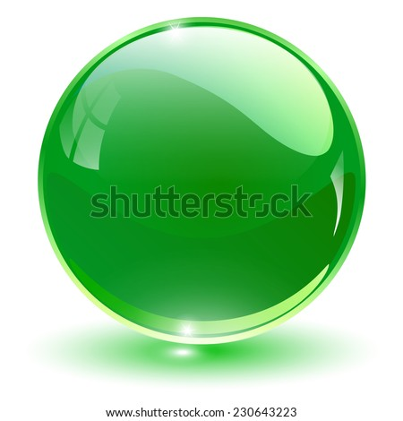 glass sphere  green vector ball