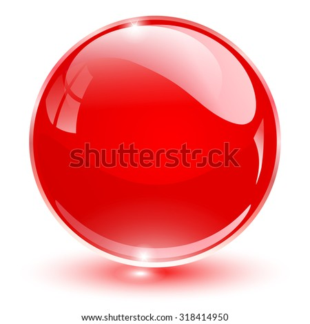 glass sphere  red vector ball