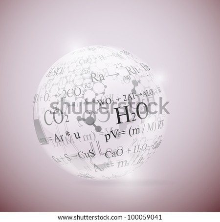 Glass sphere with chemical formulas. Eps 10
