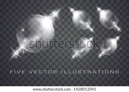 Glass spheres of glowing lights effects isolated on transparent background, abstract magic Illustrations