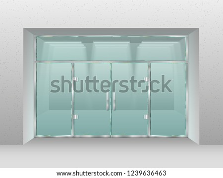 Glass store facade. Shopfront window, retail shop or modern business office double doors. Store boutique showcase door or entrance front exterior vector illustration