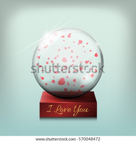 Glass transparent ball, a gift on Valentine's Day vector illustration. Decoration, crystal glass sphere with 3d heart with very on the theme of love, warm feelings. #570048472