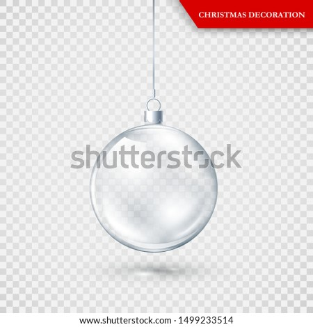 Glass transparent Christmas decoration. Xmas glass ball on transparent background. Holiday decoration template. Vector illustration