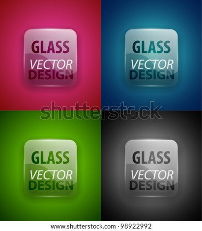 Glass transparent plate set for text