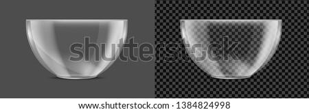 Glass transparent salad bowl. Vector realistic image.