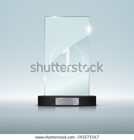 Glass Trophy Award. Vector illustration