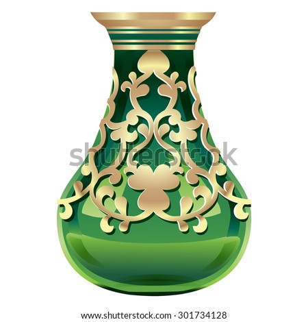 glass vase with gold decoration