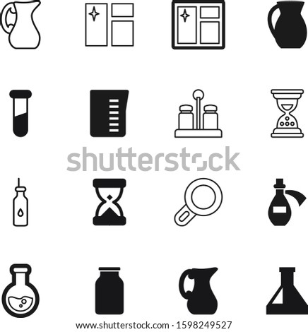 glass vector icon set such as: natural, olive, fun, love, spice, technology, knowledge, cup, lid, study, conical, magnifier, drug, drop, art, ceramic, science, oil, tool, sandglass, discovery, cover