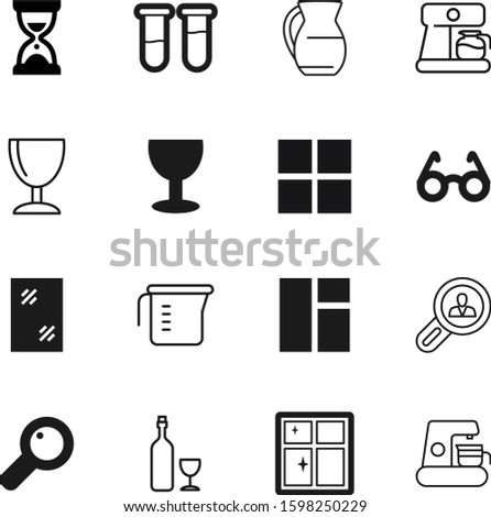 glass vector icon set such as: vine, sparkle, housekeeping, seek, zoom, dark, color, dinner, art, knowledge, tool, estate, lupe, time, retro, pitcher, real, pottery, spring, education, caffeine, 10