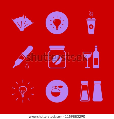 glass vector icons set. with flippers, dropper pipette, bulb and salt pepper shaker in set