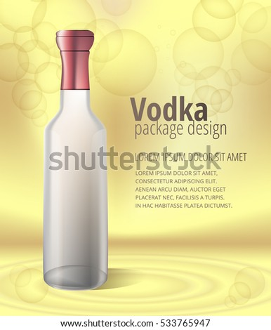 glass vodka bottle isolated on