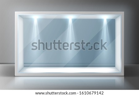 Glass wall display case frame in empty exhibition room. Transparent showcase with illumination for museum, gallery or exhibit presentation. Exposition hall interior, realistic 3d vector illustration