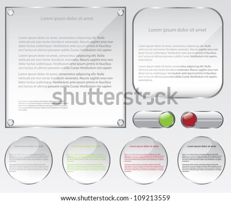 Glass web frame and buttons illustration