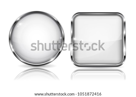 Glass white buttons. Round and square 3d buttons with metal frame. With reflection on white background. Vector illustration