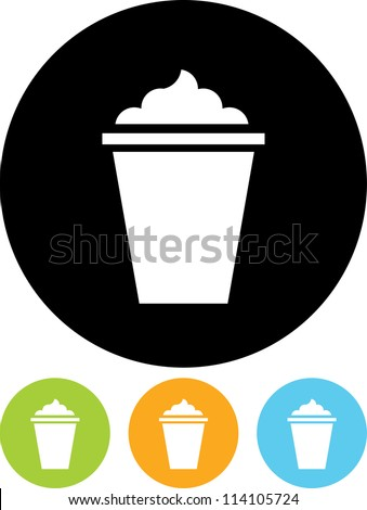 Glass with ice cream shake - Vector icon isolated