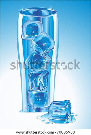 Glass with ice. Vector illustration.