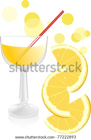 Glass with juice and pieces of orange. Vector