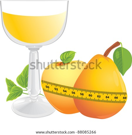 Glass with juice, fruits and measuring tape. Vector