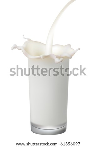Glass with milk splash. Vector illustration.