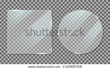 Glass with reflection effect in mockup style. Acrylic and glass texture with glare. Digital screen window frame with glossy lights effect. Gloss plastic screen, realistic mirror on transparent. vector