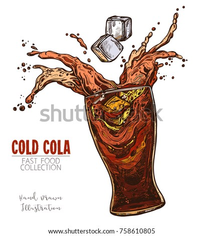 Glass with splash of Cola and ice cubes, cold soda beverage. Hand drawn sketch of classic fast food drink. Colorful image for menu, advertising, banners. Vector isolated on white background