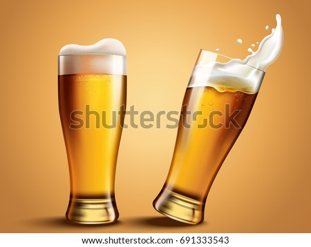 Glass with splashing beer, attractive beer mockup in 3d template