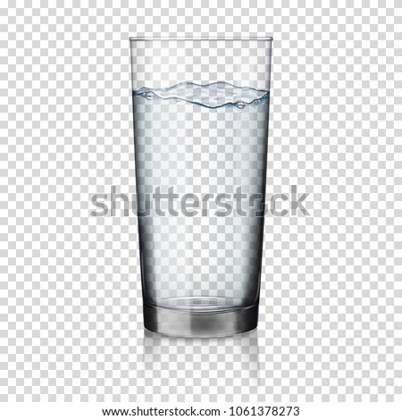 Glass with water, isolated.