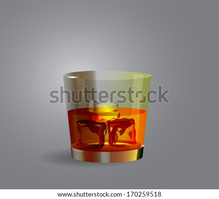 Glass with whiskey. Whiskey with ice cube. Whiskey glass. Whiskey icon. Cool whiskey. Realistic whiskey. Alcohol icon. Glass with alcohol. Icon usquebaugh. Glass mountain dew vector stock illustration