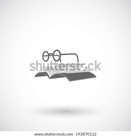 Glasses and  book flat icon