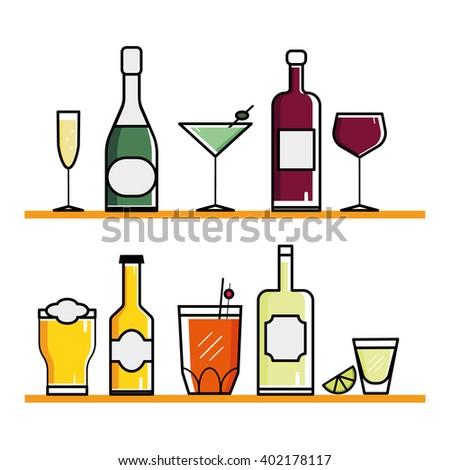 glasses and bottles set. isolated drinks flat illustration