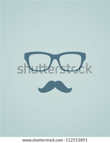 Glasses and mustache. Vector illustration
