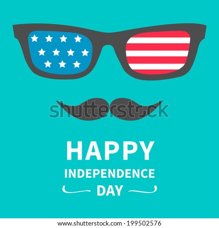 Glasses and mustaches. Happy independence day United states of America. 4th of July. Vector illustration