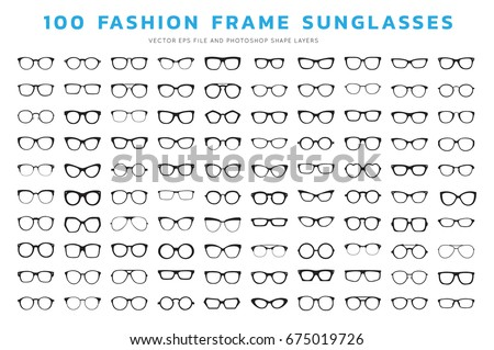 Glasses And Sunglasses icons isolated on white background with Various shapes in vector illustrations.