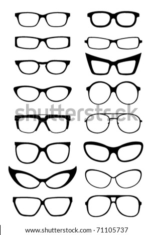 Glasses and Sunglasses silhouettes - stock vector