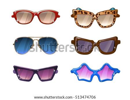 Glasses colorful vector set illustration. Glasses vector icon set isolated. Glasses summer symbol. Glasses set for traveling design.