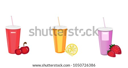 Glasses for juice. Strawberry juice. Cherry juice. Lemonade. Plastic cup