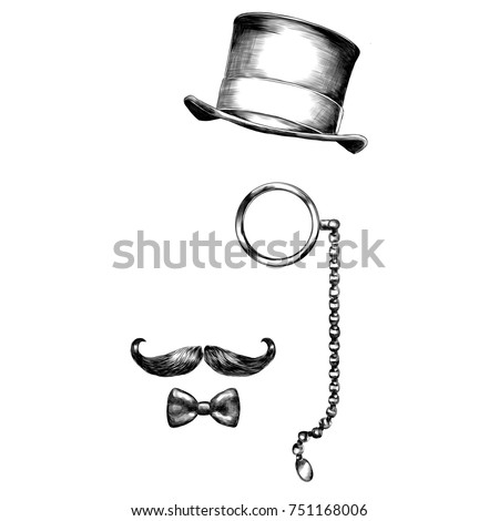 glasses hat beard sketch vector graphics black and white monochrome pattern