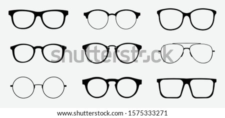 Glasses icon concept. Glasses icon set. Vector graphics isolated on white background. Stok fotoğraf ©