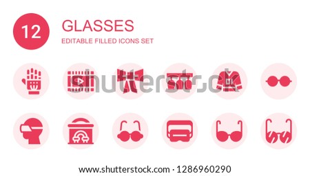 glasses icon set. Collection of 12 filled glasses icons included Exoskeleton, Film, Bow tie, Glasses, Clothes, Vr Cinema, Virtual reality, Eyeglasses