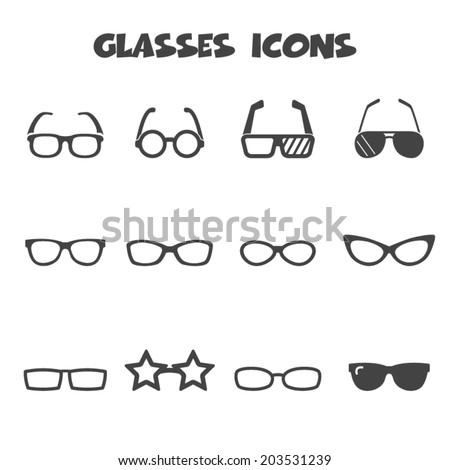 glasses icons  mono vector