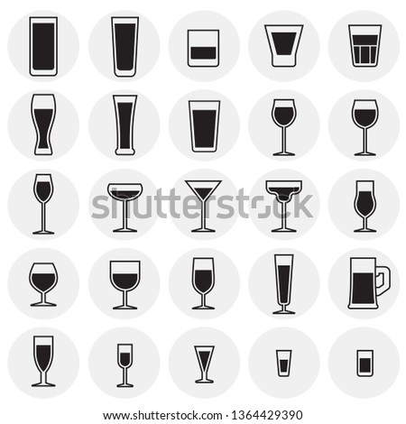 glasses icons set on cirlces