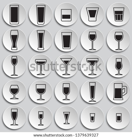 glasses icons set on plates