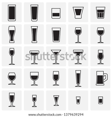 glasses icons set on sqaures
