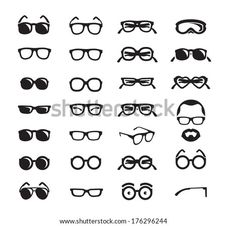Glasses icons Vector format